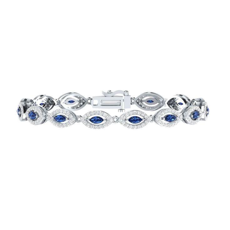 "For Womens 4.50 Carat Blue W/ White Sapphire Sterling Silver Tennis 7"" Bracelet #braceletrealgold #Tennis"