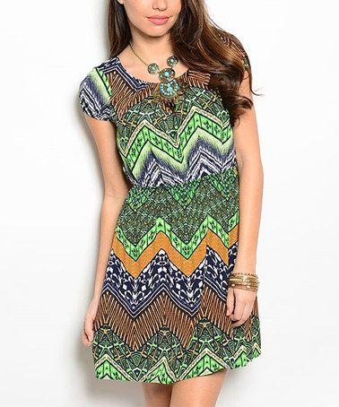 Lime Green & Orange Chevron Cap-Sleeve Dress #zulily #zulilyfinds