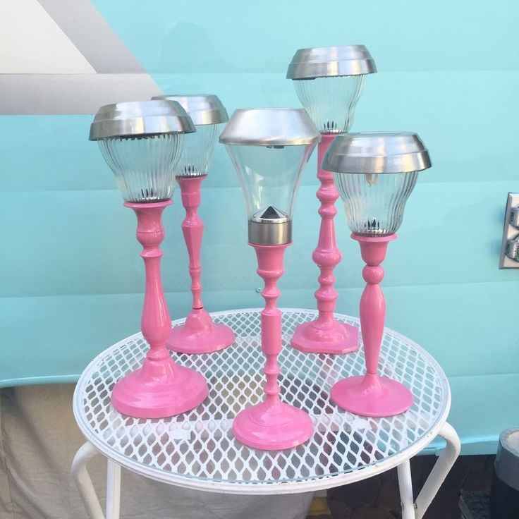 My thrift store brass candlestick holders all spray painted and used as solar light holders. @1958shasta #1958shasta
