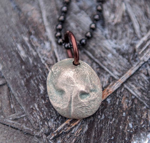 Cat Nose Print in Bronze on  Gunmetal and Steel Ball Chain.  Great gift for a man, women or child who loves their cat and want to hold them close when they are not around.