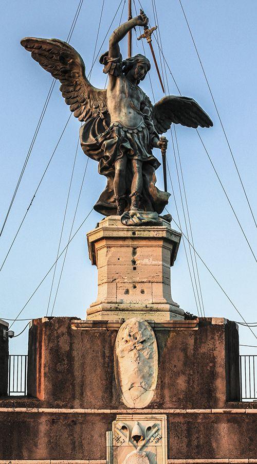 Bronze statue of Michael the Archangel, standing on top of the Castel Sant'Angelo in Rome, modelled in 1753 by Peter Anton von Verschaffelt (1710–1793). #rome #castelsantangelo #angel #archangel #verschaffelt