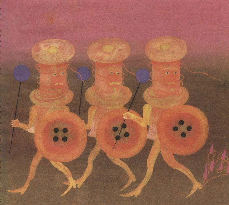 Illustrations by Eva Bednářová for Button Tales (Knoflíková Pohádká) by Olga Hejná (Albatross, Prague, 1974)
