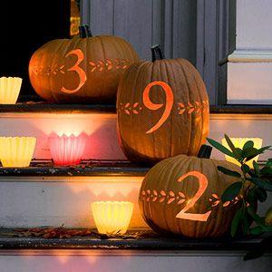 address on pumpkins: Fall Decor, Address Pumpkin, Carvings Ideas, Halloween Pumpkin, Holidays Ideas, Fall Halloween Thanksgiving, Address Numbers, Pumpkin Carvings, House Numbers