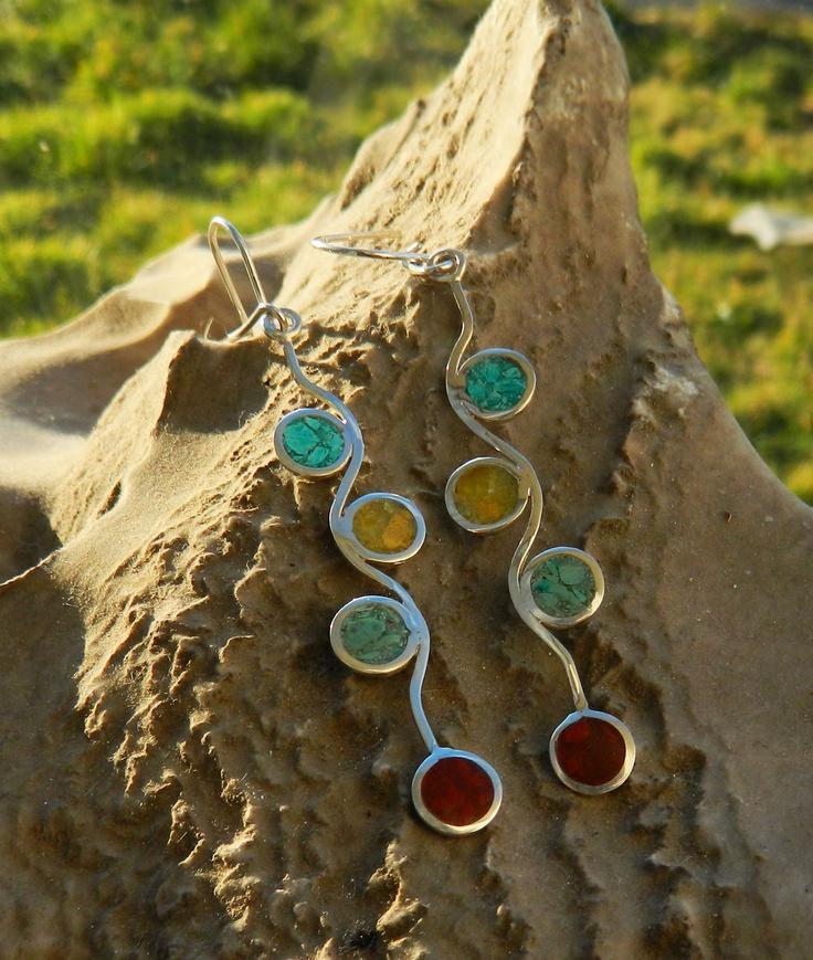 aros de plata con piedras naturales mis joyas jewelry