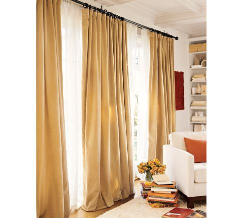 Example of the linen with the sheer drape for the large window in the living room.  - Linen Sheer Drape | Pottery Barn