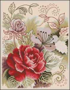 Free cross-stitch pattern Tea Rose | Cross-Stitch Club