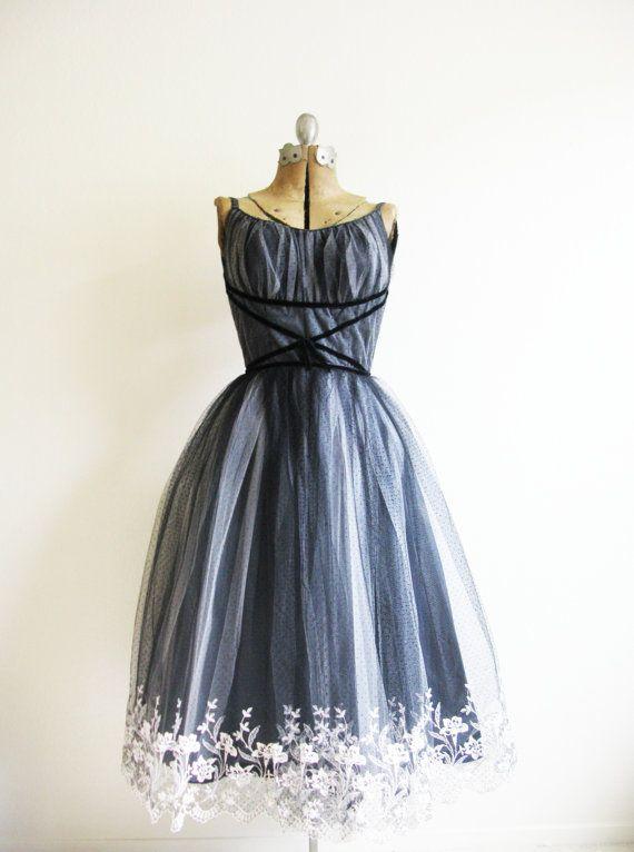 Vintage 1950's Night Gardener Party Dress