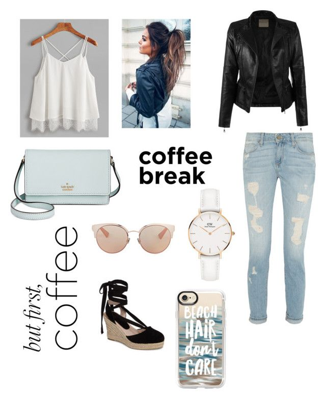 """""""But first, coffee. ☕️"""" by londonkat on Polyvore featuring Topshop, Kate Spade, Daniel Wellington, Christian Dior and Casetify"""