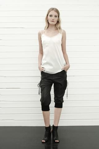 konsanszky_collection SS16_DION natural silk top_MALA leather trousers