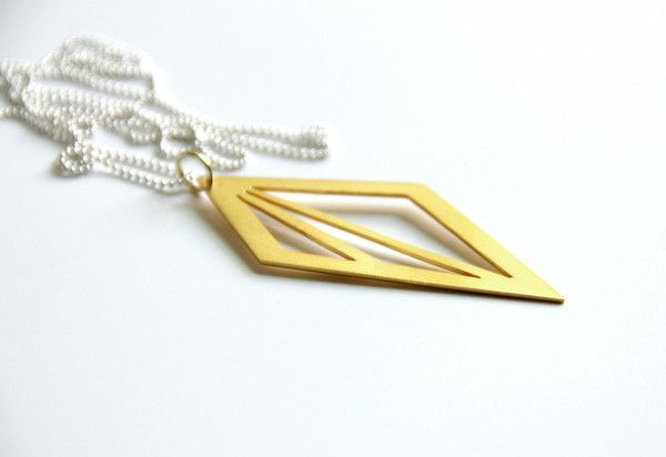 24K Gold Plated Silver Geometric Triangle Cut Out Necklace