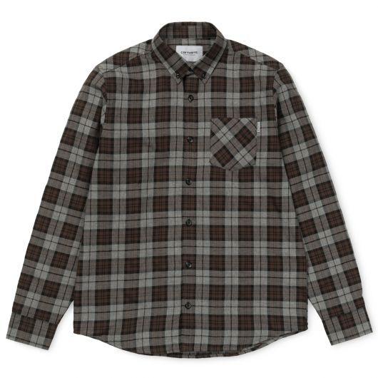 CARHARTT WIP L/S Norton chemise flanelle check Dark grey heather / Tobacco 59,00 € #skate #skateboard #skateboarding #streetshop #skateshop @playskateshop