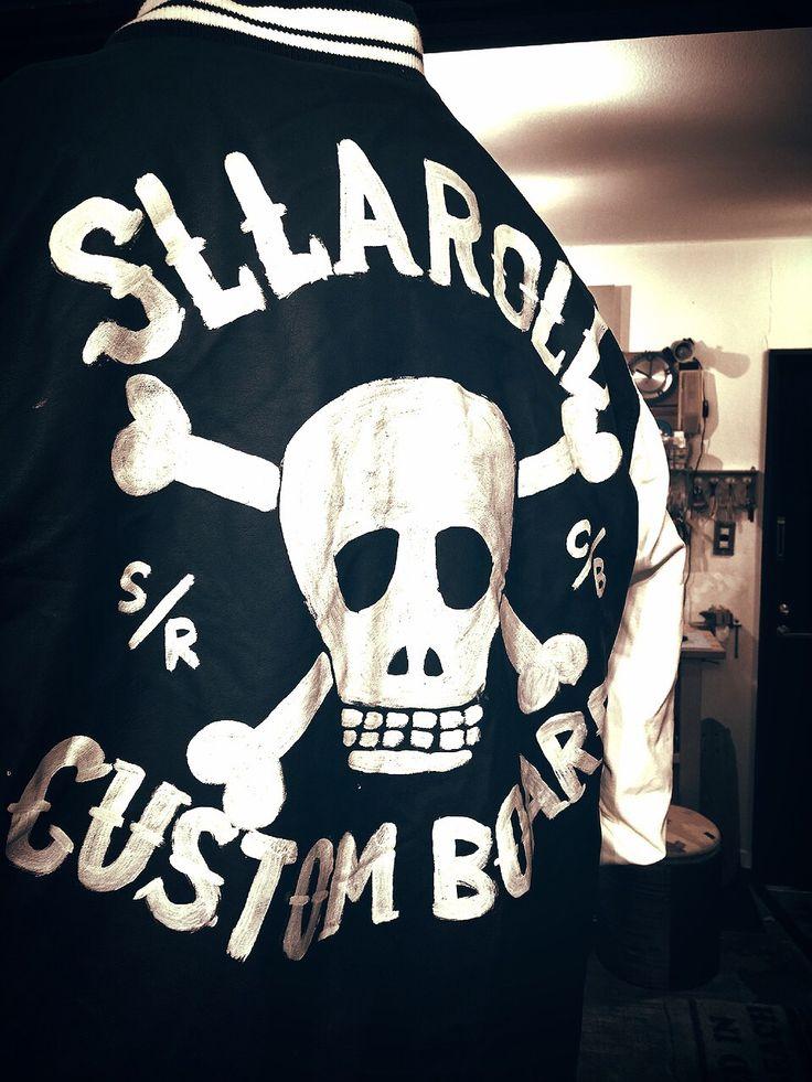 Hand paint cross bone skull jacket\SLLAROLL SURFSKATE CUSTOM BOARD #surf #skateboard #sllaroll #hotrod #custom #skull #harley
