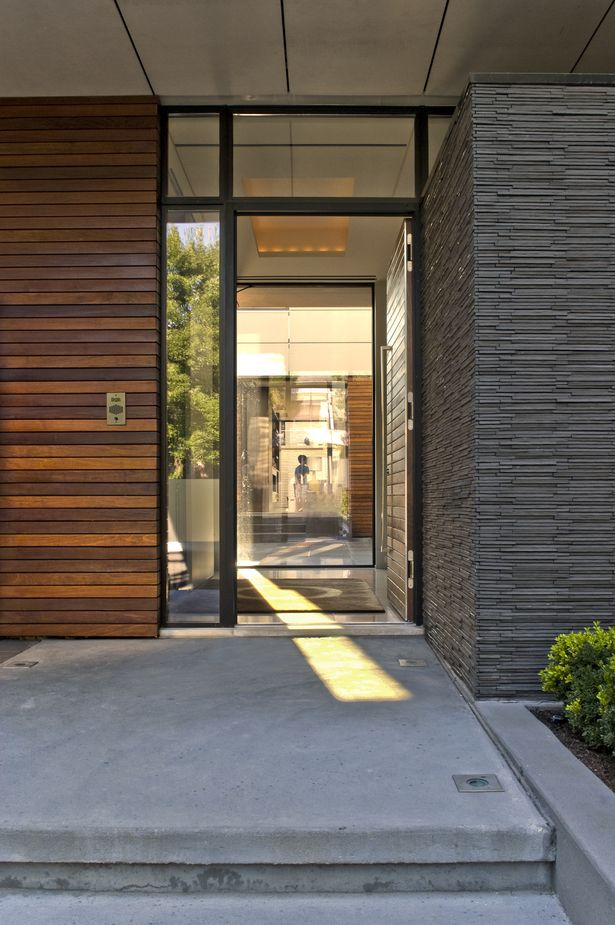 *entrance, architecture, entryway, modern, stones and wood*