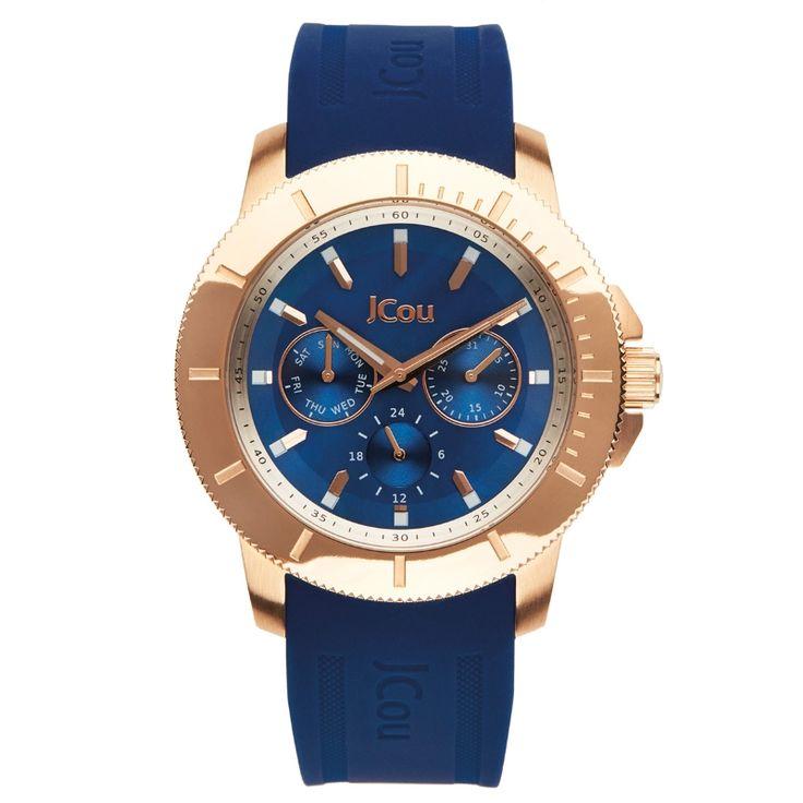 Ρολόι Jcou της σειράς Sea Coast με ροζ επιχρυσωμένο πλαίσιο, μπλε καντραν και μπλε καουτσουκ λουράκι.  #tasoulis_jewellery #watches #jcou #jcouwatches #fashion #style #women #blue #gold #rosegold