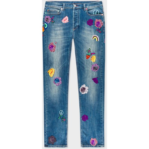 Paul Smith Men's Slim-Fit Mid-Wash Jeans With Embroidered Charms (€625) ❤ liked on Polyvore featuring men's fashion, men's clothing, men's jeans, mens slim fit jeans, mens slim jeans, mens slim fit stretch jeans, mens jeans and mens stretch jeans