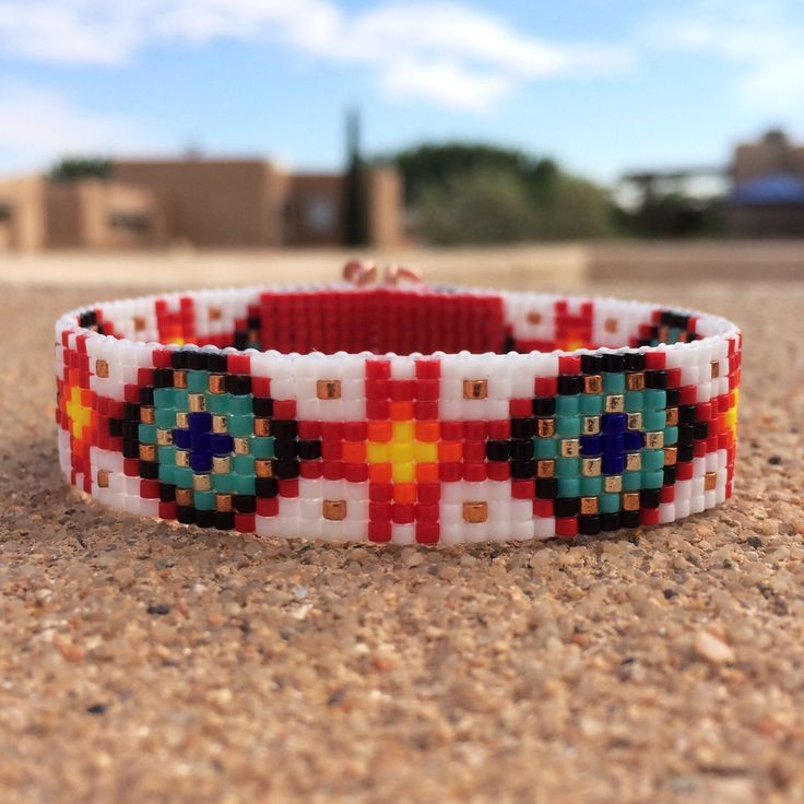 Zia and Turquoise Bead Loom Bracelet Bohemian Boho Artisanal Jewelry Indian Western Beaded Tribal Southwestern Turquoise Brown Santa Fe by PuebloAndCo on Etsy https://www.etsy.com/listing/236127122/zia-and-turquoise-bead-loom-bracelet