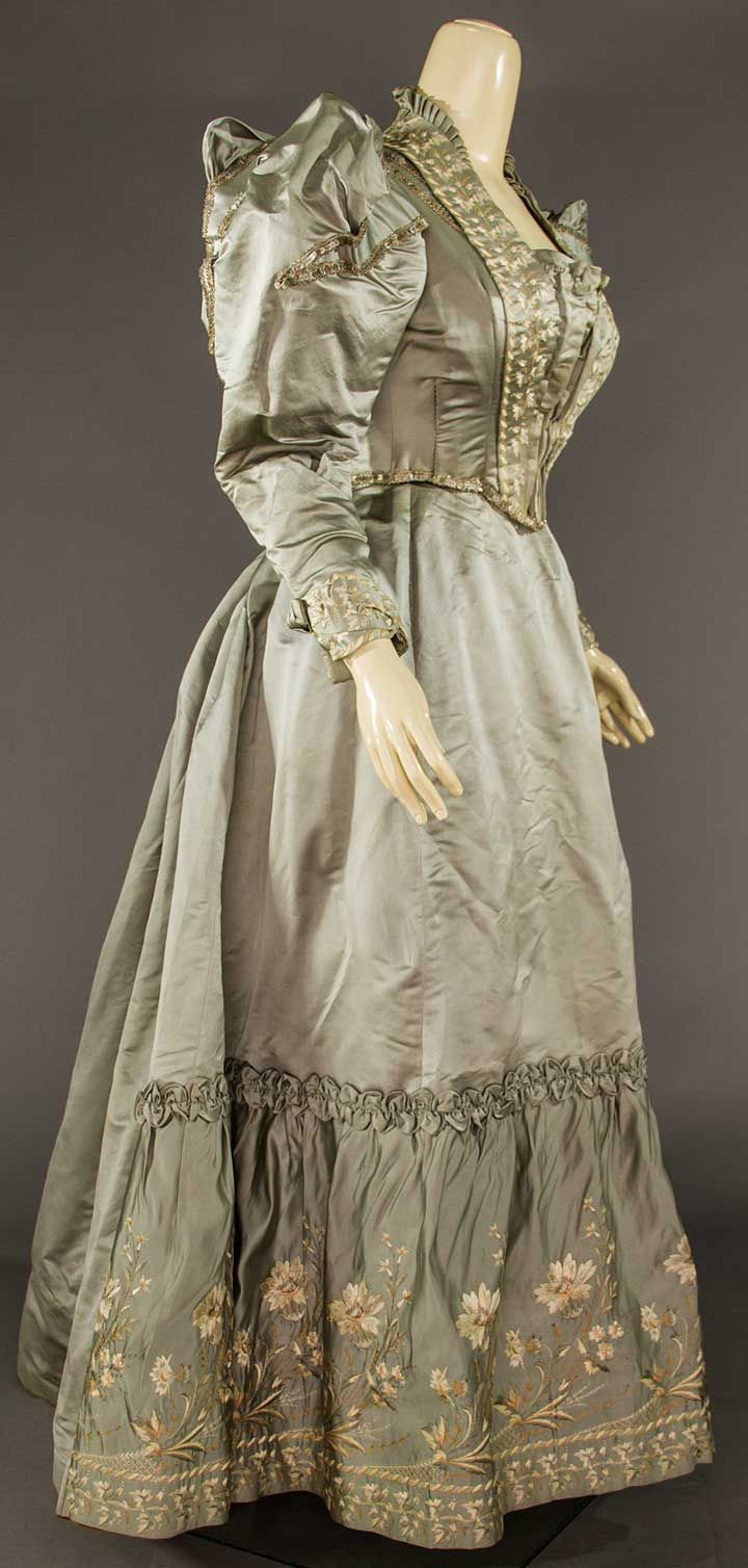 Buy online, view images and see past prices for EMBROIDERED SATIN DINNER DRESS, 1895. Invaluable is the world's largest marketplace for art, antiques, and collectibles.