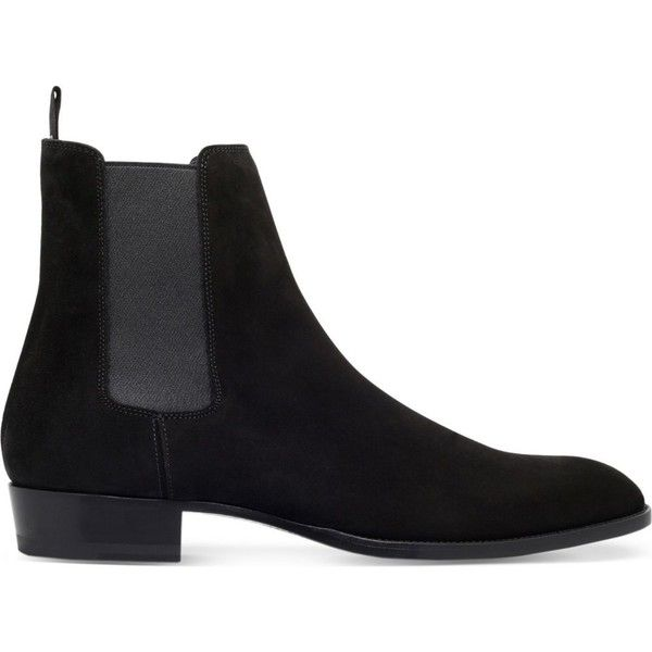 SAINT LAURENT Hedi suede Chelsea boots ($890) ❤ liked on Polyvore featuring men's fashion, men's shoes, men's boots and black
