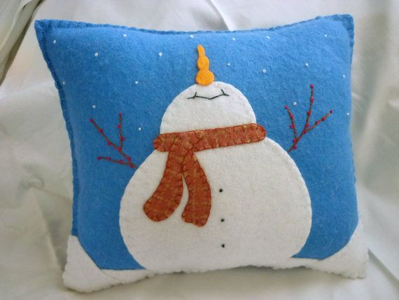 Felt Snowman Pillow - Catching Snowflakes