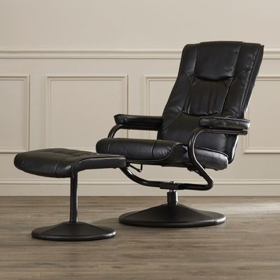 Charlton Home Soft Leather Reclining Office Chair and Ottoman Set & Reviews | Wayfair