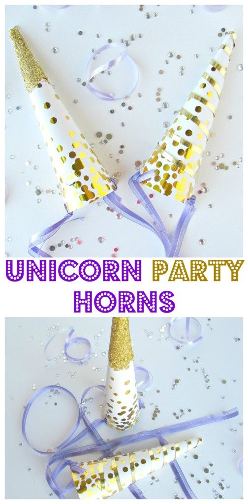 Unicorn Party Horns made out of party hats! Easy to make unicorn horns, cute for a unicorn party or Halloween