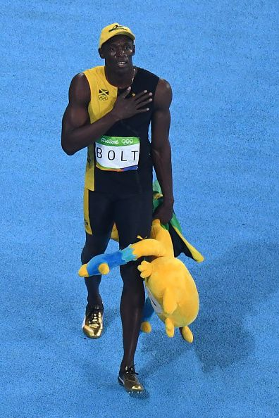 An overview shows Jamaica's Usain Bolt after winning in the men's 100m Final during the athletics event at the Rio 2016 Olympic Games at the Olympic...