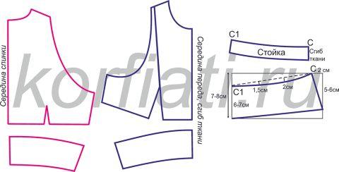 Выкройка платья с американской проймой - лиф и воротника