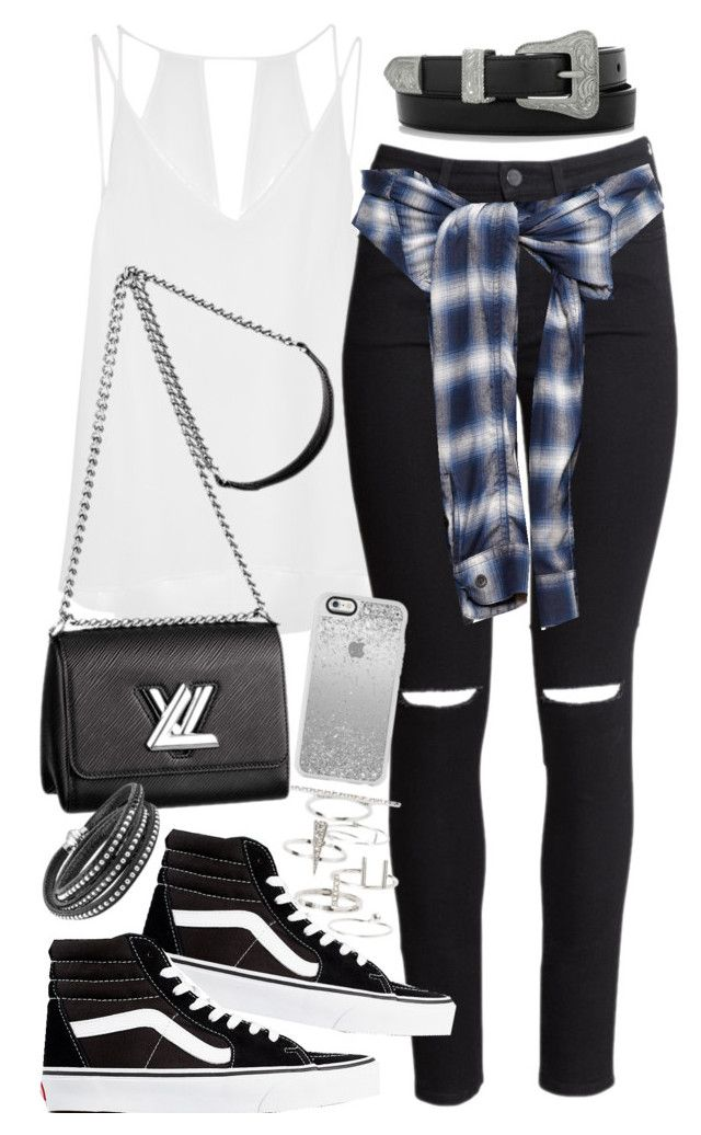 """Outfit for a campus tour with Vans"" by ferned on Polyvore featuring Sandro, H&M, Miharayasuhiro, Yves Saint Laurent, Vans, Louis Vuitton and Topshop"