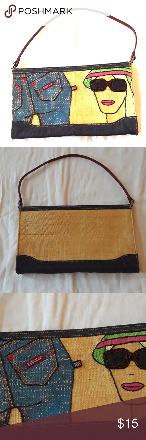 Polo Jeans Company Purse Polo Jeans Company Purse, used condition,  inside is clean,  no spots on lining. Really cool style purse, very summery purse. MEASUREMENTS ARE IN PICTURES, ASK QUESTIONS AS ALL SALES ARE FINAL, HAPPY POSHING. Polo Jeans Company Bags