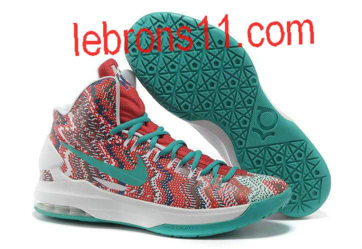 KD 5 Girls Red White New Green Basketball Shoes for Womens