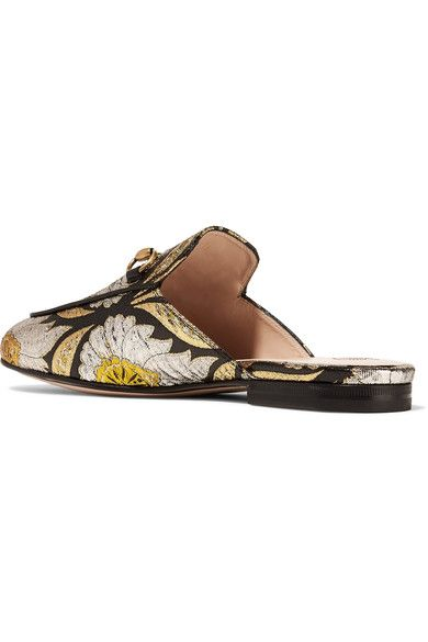 Gucci - Princetown Horsebit-detailed Metallic Floral-jacquard Slippers - Gold - IT35.5