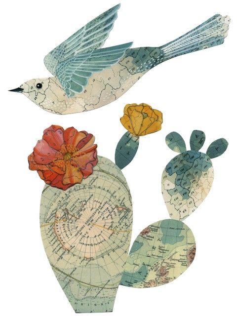 Map art: Journals Inspiration, Birds Art, Crafts With Birds, Birds Of Paradis, Illustrations Journals, Geninn Zlatka, Beautiful Birds, Maps Art, Maps Birds