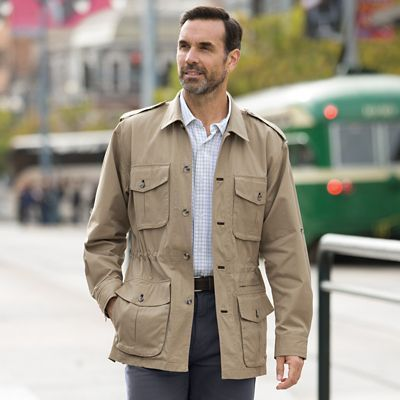 Men's Safari Jacket at TravelSmith Outfitters, lightweight, and packable jackets, perfect for travel, or everyday use.