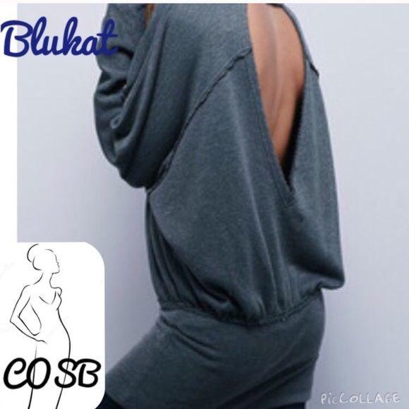 Grey Sexy Sweatshirt Backless