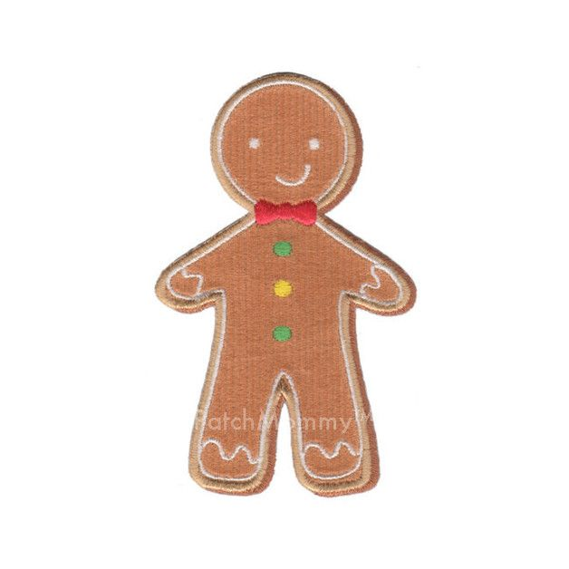 Gingerbread Man Iron-On Applique Patch