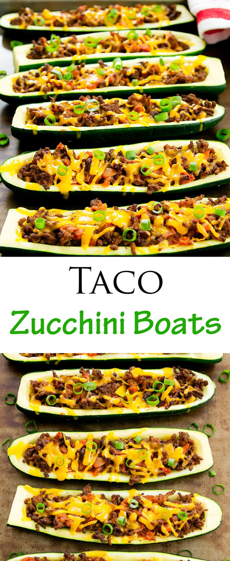 Taco Zucchini Boats. Low carb and healthy solution for taco night!