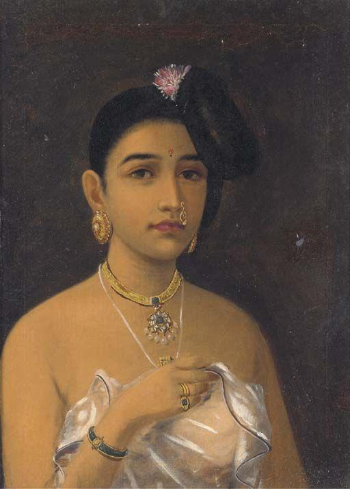 'Maliyali Beauty' by Raja Ravi Varma (1848-1906, India)