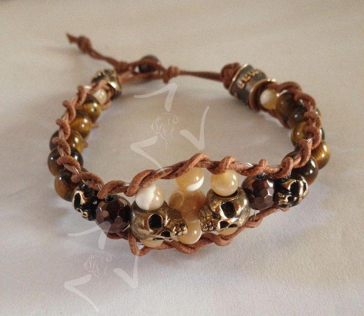 bracciale sfere occhio di tigre con teschio in bronzo gioiello per uomo di KaipumaaLuxury su Etsy