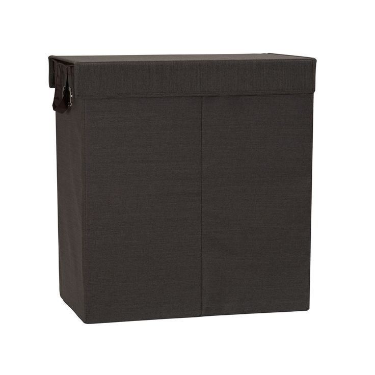 Household Essentials Collapsible Double Laundry Hamper Sorter in Cobblestone, Black (Fabric)