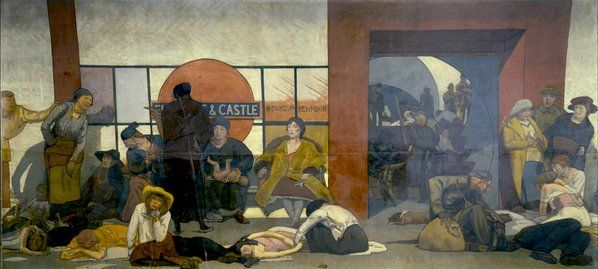 The Underworld:Taking Cover in a Tube Station during a London Air Raid by Walter Bayes 1918 posted on Twitter by @DrLivGibbs