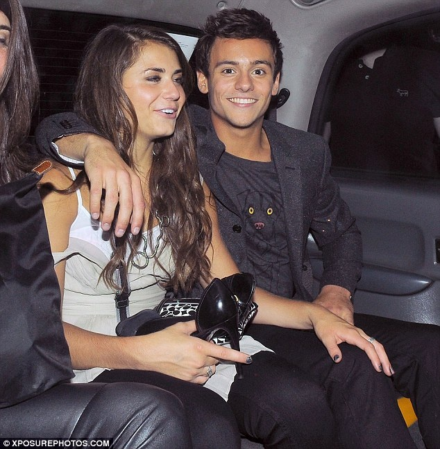 Tom Daley and his barefoot girlfriend Kassidy Cook emerge from nightclub as they celebrate his A-Level results
