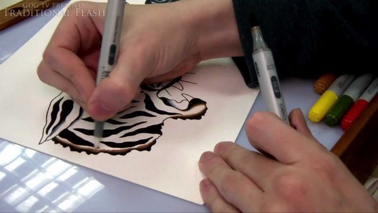 Traditional Flash - How To Draw and Paint Tattoo Flash Tutorial - Tiger,...