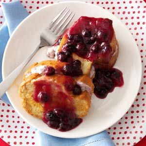 Quicker Blueberry French Toast Recipe from Taste of Home -- shared by the Taste of Home Test Kitchen