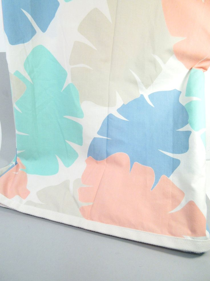 Vintage full flat sheet, double flat sheet, tropical leaf print, 1980s or 90s pastel tropical bed sheet by StephieD on Etsy