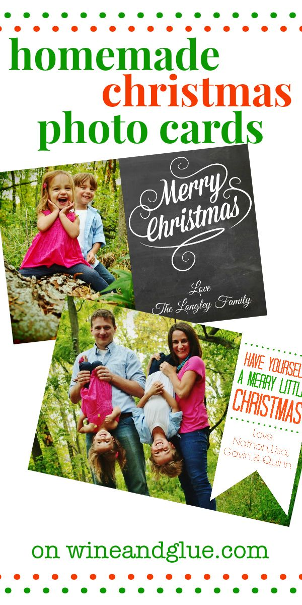 Homemade Christmas Photo Cards!   www.wineandglue.com   No fancy software needed! #christmas #christmascards