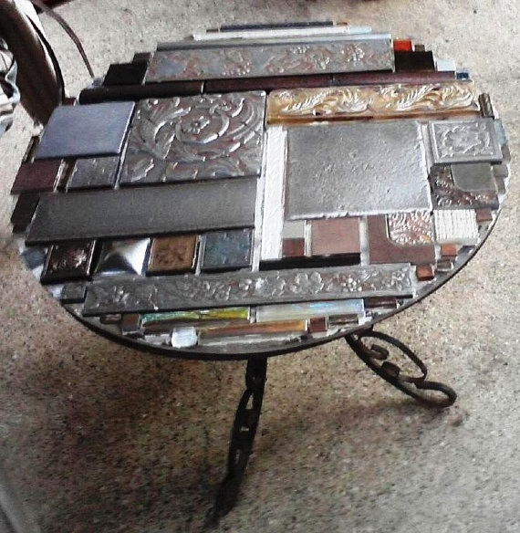 Metallic and Glass Tile Top Table with wrought by carolynwalker1, $150.00