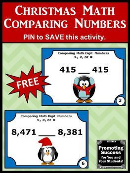 FREE Christmas or Winter Math Centers Comparing Numbers Task Cards for Games