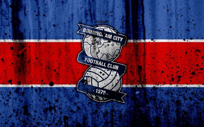 Download wallpapers 4k, FC Birmingham City, grunge, EFL Championship, art, soccer, football club, England, Birmingham City, logo, stone texture, Birmingham City FC