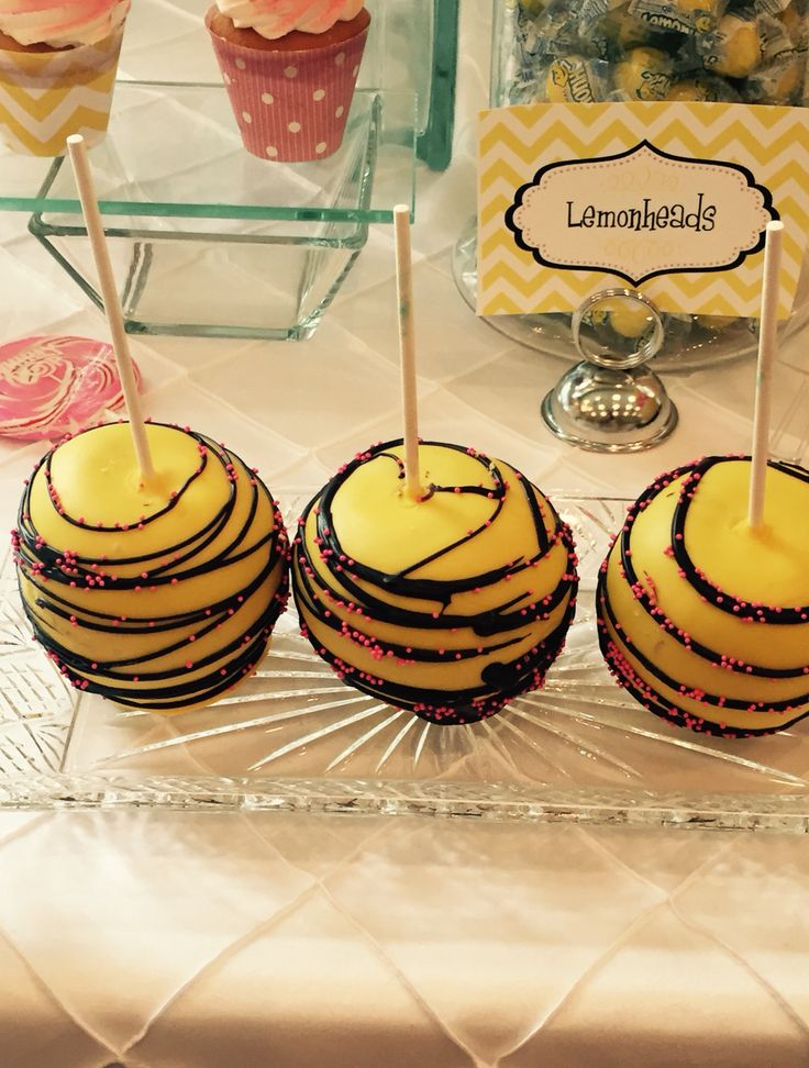 Chocolate Covered Apples On The Bee Theme Baby Shower Table Made By Prissy Sweet Cake Treats