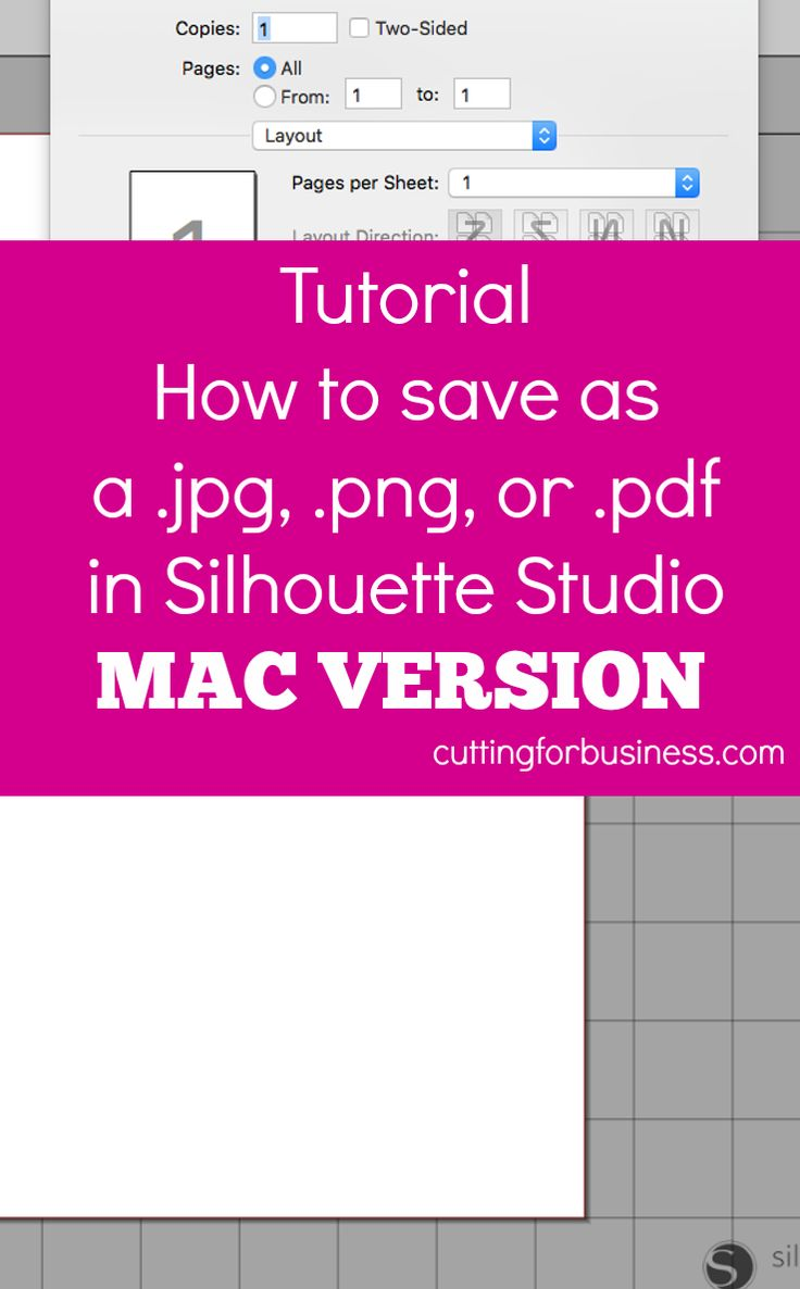 How to save as .png, .jpg, or .pdf in Silhouette Studio (Mac Version) by cuttingforbusiness.com courtesy of happyhootparties.etsy.com